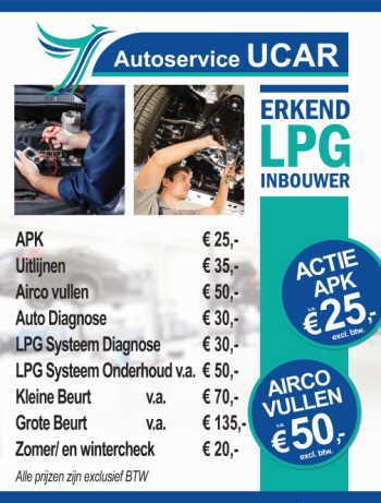 Prijslijst APK Autobanden Uitlijnen Kleine beurt Grote beurt