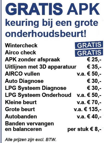 APK actie autogarage Haarlem Ucarauto.nl